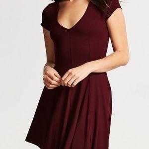 Forever 21 Short Sleeve Flared Burgundy Dress SM